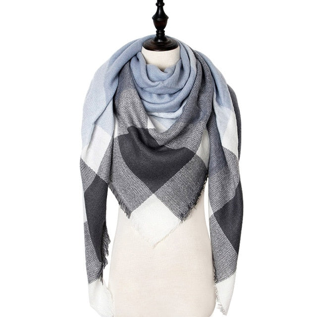 Checkered Luxury Blanket Scarf - Faded Blue, White, & Gray