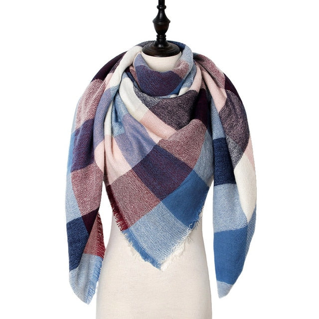 Checkered Luxury Blanket Scarf - Faded Red, White, & Blue