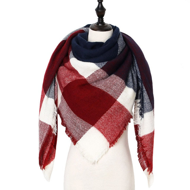 Checkered Luxury Blanket Scarf - Red, White, & Navy Blue