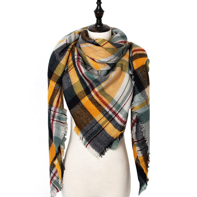 Plaid Luxury Blanket Scarf - Navy Blue & Yellow