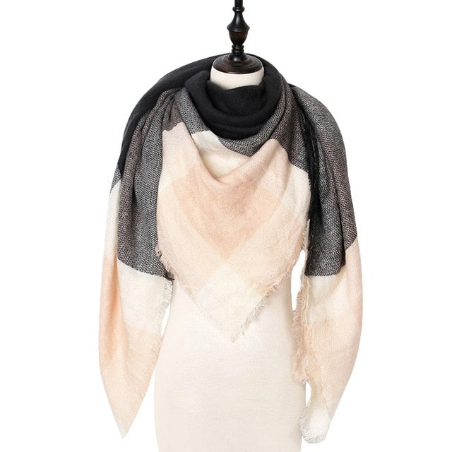 Checkered Luxury Blanket Scarf - Cream & Gray
