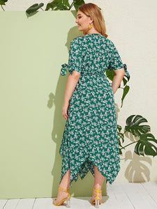 Plus Ditsy Floral Knot Cuff Hanky Hem Wrap Dress