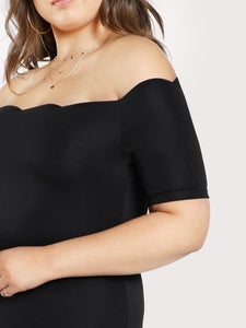 Plus Scallop Edge Off Shoulder Dress