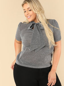 Plus Tie Neck Puff Sleeve Glitter Top