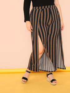 Plus High Slit Palazzo Pants