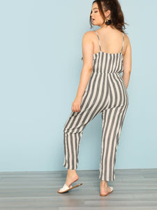 Stripe Jumpsuit with Pockets