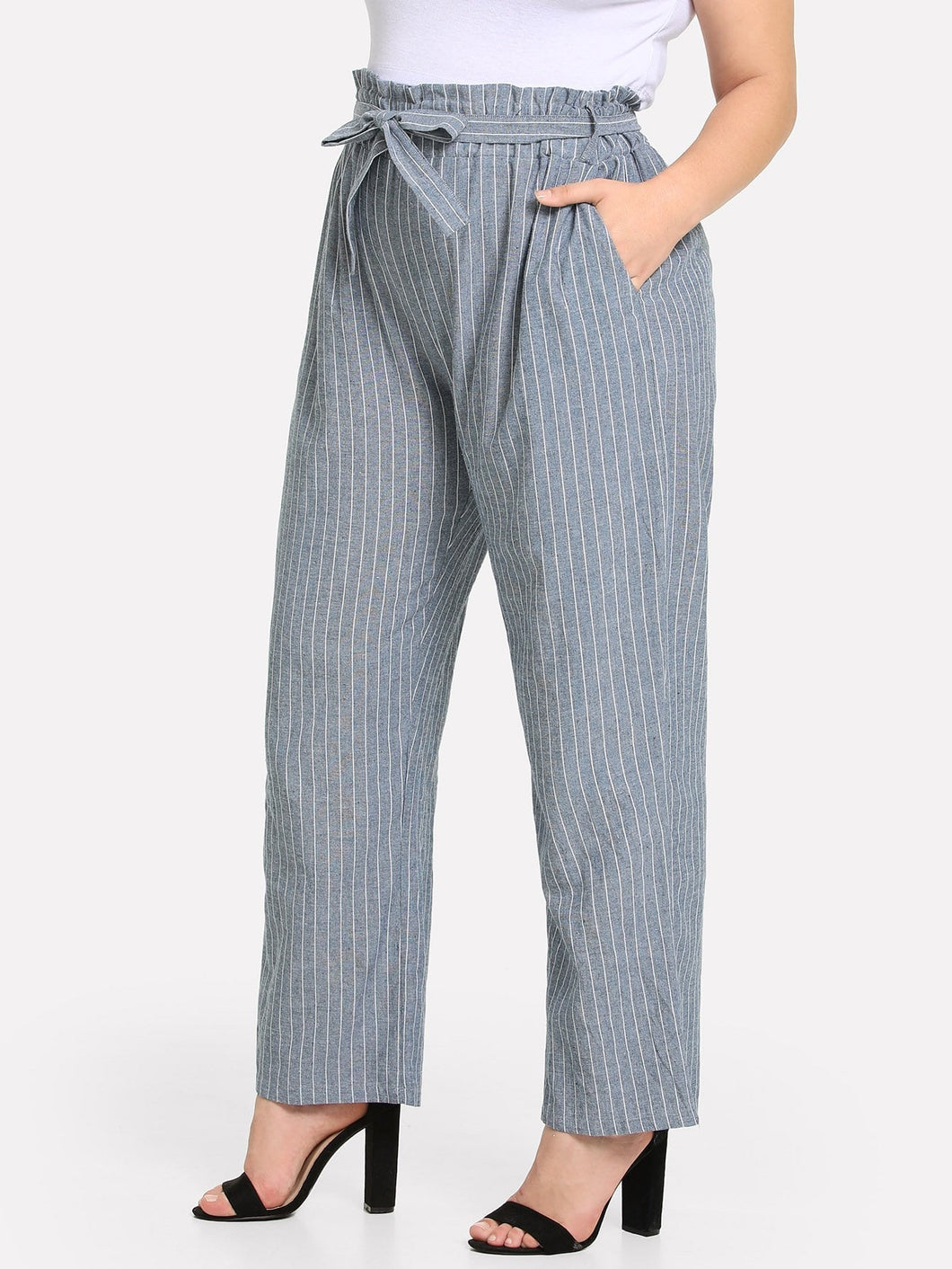 Plus Knot Front Striped Pants