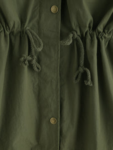 Plus Drawstring Patched Decoration Coat