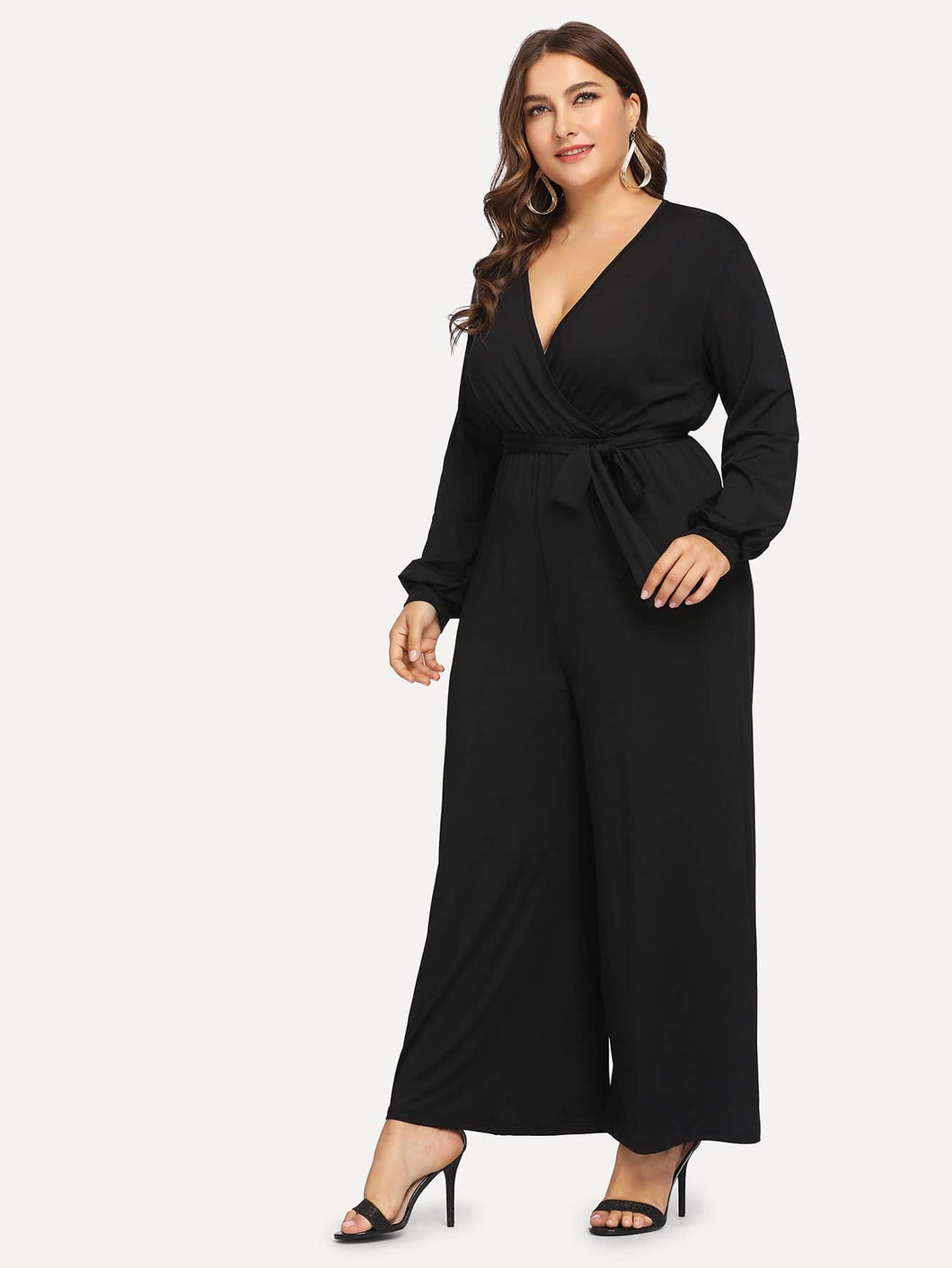 Plus Self Tie V-neck Jumpsuit