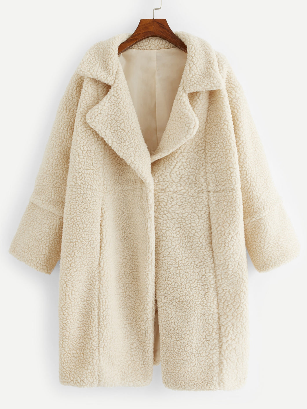 Plus Single Button Solid Teddy Coat