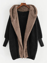 Load image into Gallery viewer, Plus Open Front Hooded Teddy Coat