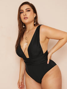 Plus Ruched Plunging One Piece Swimwear