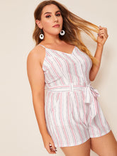 Load image into Gallery viewer, Plus Striped Self Tie Cami Romper