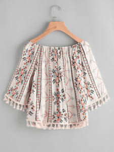 Plus Fringe Tribal Print Blouse