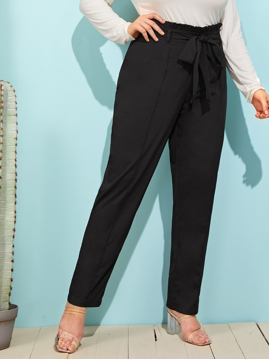 Plus Seam Front Paperbag Waist Belted Pants