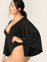Load image into Gallery viewer, Plus Surplice Neck Exaggerate Bell Sleeve Bodysuit