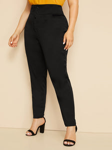 Plus Button Solid Skinny Pants