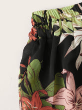 Load image into Gallery viewer, Plus Floral Print Elastic Waist Shirred Pants