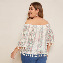Load image into Gallery viewer, Plus Fringe Tribal Print Blouse