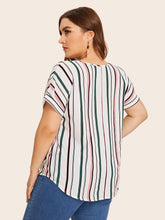 Load image into Gallery viewer, Plus Curved Hem Striped Top