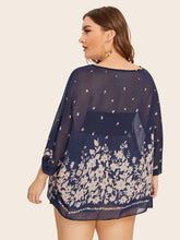 Load image into Gallery viewer, Plus Floral Print Batwing Sleeve Sheer Blouse