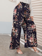 Load image into Gallery viewer, Plus Paperbag Waist Floral Print Wide Leg Pants