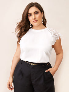 Plus Scallop Trim Lace Contrast Blouse