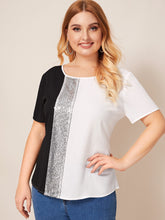 Load image into Gallery viewer, Plus Cut-and-Sew Sequin Panel Top
