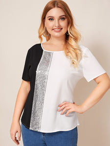 Plus Cut-and-Sew Sequin Panel Top
