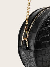 Load image into Gallery viewer, Croc Embossed Chain Round Crossbody Bag