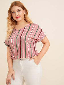 Plus Curved Hem Striped Top