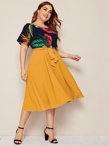 Plus Tie Waist Plant Print Colorblock Combo Dress