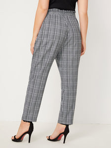 Plus Plaid Paperbag Waist Belted Carrot Pants
