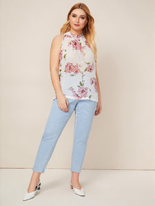 Plus Floral Keyhole Back Halter Top