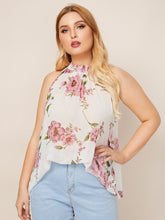 Load image into Gallery viewer, Plus Floral Keyhole Back Halter Top
