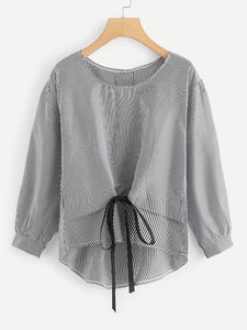 Plus Knot Hem High Low Blouse