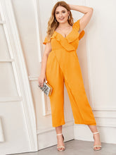 Load image into Gallery viewer, Plus Surplice Front Cold Shoulder Ruffle Jumpsuit
