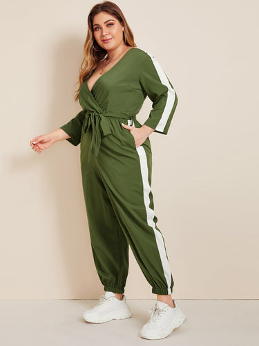 Plus Self Tie Contrast Panel Surplice Jumpsuit