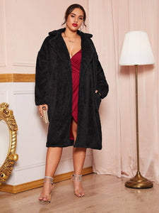Plus Slant Pocket Open Front Teddy Coat