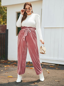 Plus Velvet Paperbag Waist Belted Pants