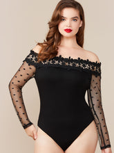 Load image into Gallery viewer, Plus Sheer Lace Sleeve Appliques Bardot Bodysuit