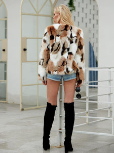 Color-block Open Front Faux Fur Coat