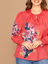 Load image into Gallery viewer, Plus Tie Neck Shirred Cuff Floral Print Top