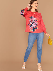 Plus Tie Neck Shirred Cuff Floral Print Top