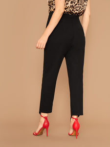 Plus Solid Asymmetrical Hem Pants
