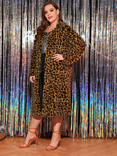 Load image into Gallery viewer, Plus Leopard Print Longline Teddy Coat