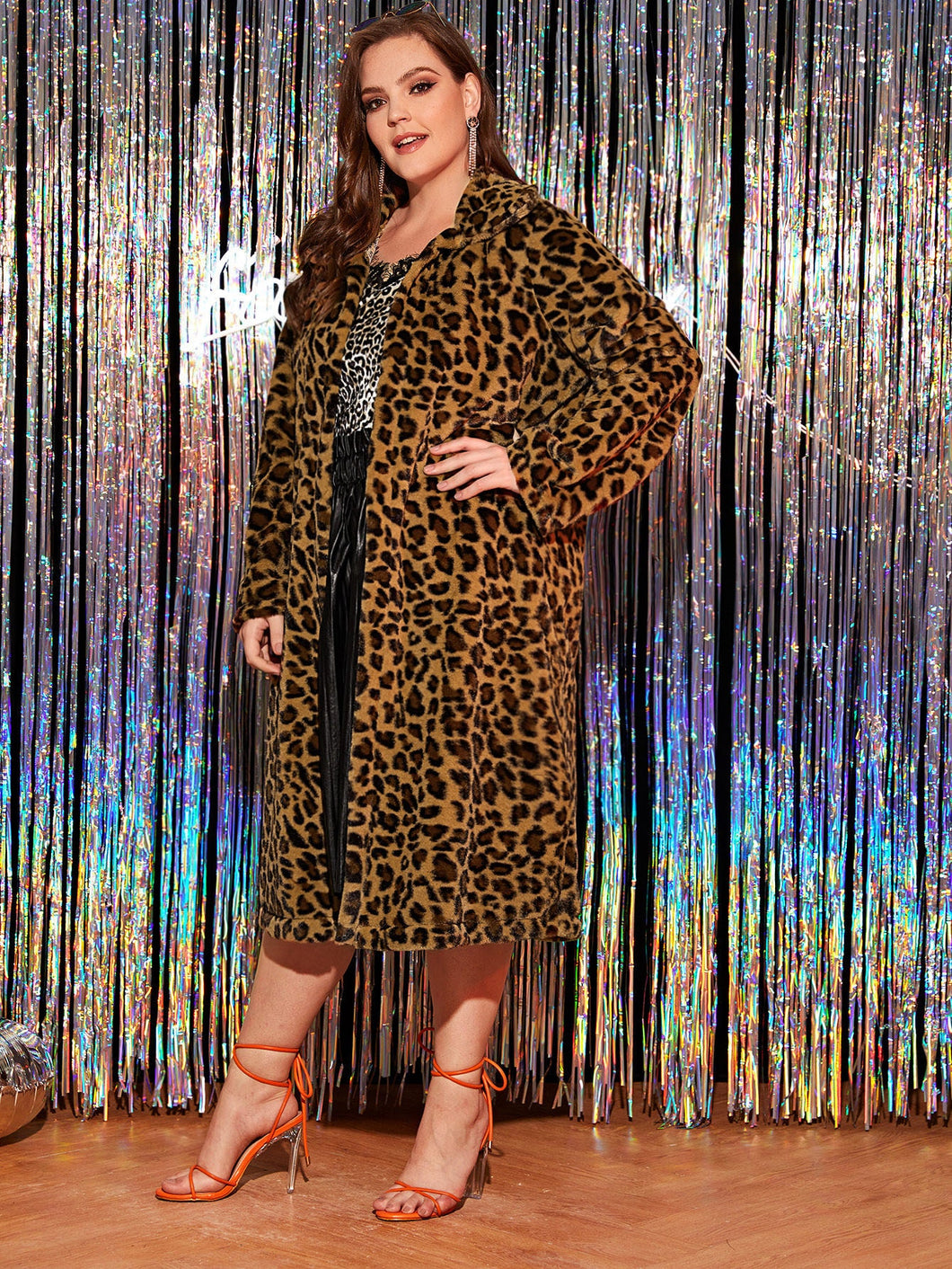 Plus Leopard Print Longline Teddy Coat
