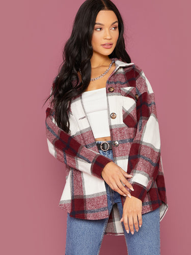 Single Breasted Pocket Front Plaid Coat