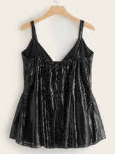 Load image into Gallery viewer, Plus Bow Front Sequin Peplum Cami Top