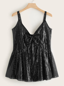 Plus Bow Front Sequin Peplum Cami Top